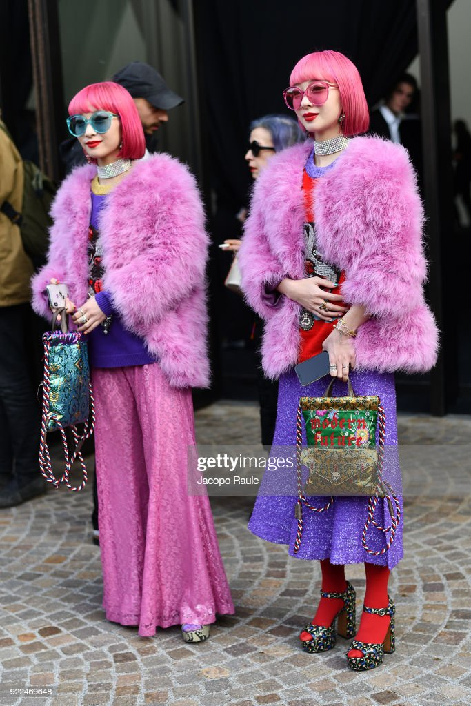 Amiaya are seen leaving the Gucci show during Milan Fashion Week Fall/Winter 2018/19 on February 21, 2018 in Milan, Italy.