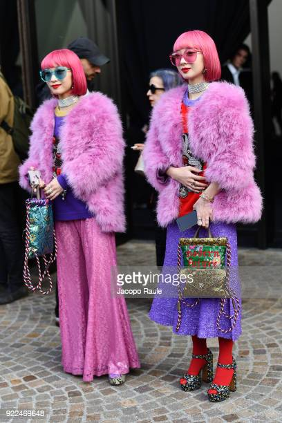 Amiaya are seen leaving the Gucci show during Milan Fashion Week Fall/Winter 2018/19 on February 21 2018 in Milan Italy