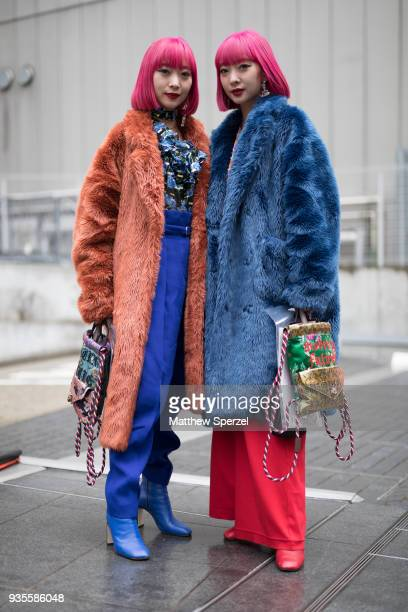 Amiaya are seen wearing fur coats during the Amazon Fashion Week TOKYO 2018 A/W on March 20 2018 in Tokyo Japan