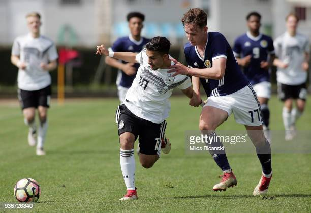 Amid Khan Agha of Germany in action during the U17 European Championship Elite round match between Germany and Scotland at Etniko Stadio Nafpaktou on...