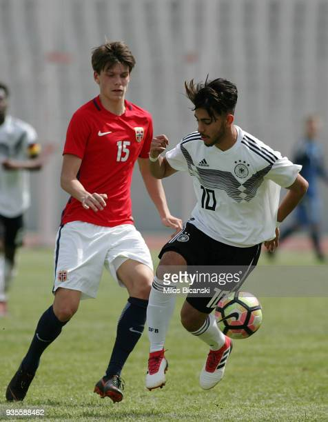 Amid Khan Agha of Germanyin action during the Germany vs Norway U17 at Pampeloponnisiako Stadium on March 21 2018 in Patras Greece