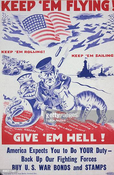 Amid the phrases 'Keep 'Em Flying' 'Keep 'Em Rolling' 'Keep 'Em Sailing' and 'Give 'Em Hell' a War Bonds and Stamps poster features American planes...