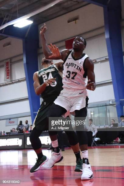 Amida Brimah of the Austin Spurs fights for position against the Wisconsin Herd during the GLeague Showcase on January 12 2018 at the Hershey Centre...