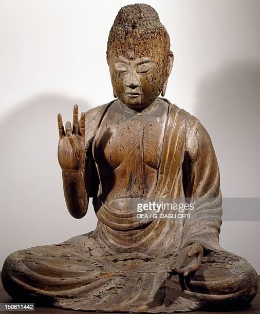 AmidaNyorai or Buddha Amitabha seated while preaching wooden statue Japan Japanese Civilisation Heian period Fujiwara period 11th12th century