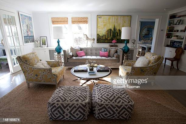 Amidcentury painting of a city scene by Lee Reynolds is photographed in the home of lifestyle anchor Lara Spencer for New York Post on April 4 2012...