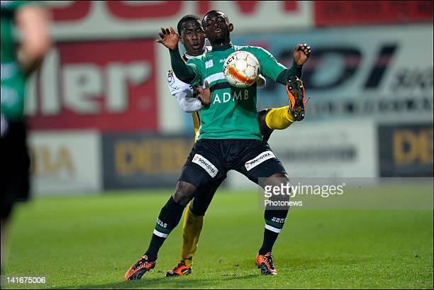 Amido Balde of Cercle Brugge in front of Hassan El Mouataz of Sporting Lokeren OVL during the Jupiler League match between Sporting Lokeren...
