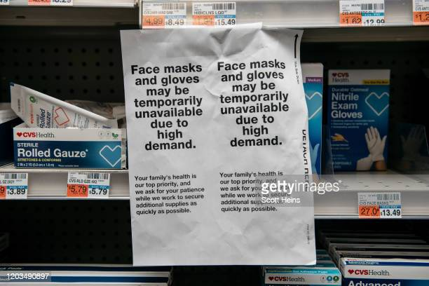 Amidst fears of a growing Coronoavirus pandemic, signs for sold out facemasks are posted in a Manhattan pharmacy on February 26, 2020 in New York...