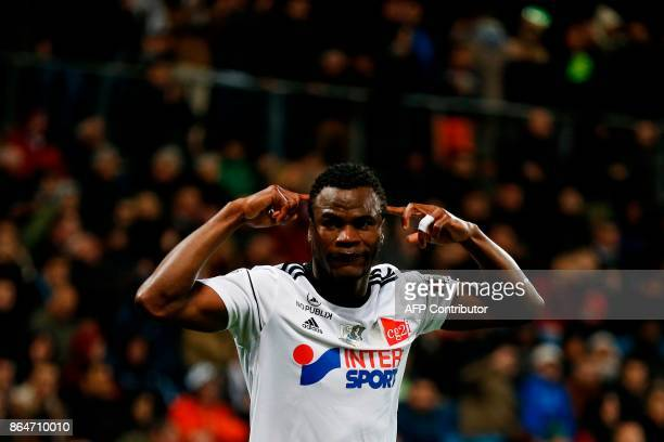 Amiens' Cameroonian midfielder Guy Ngosso celebrates after scoring a goal during the French L1 football match between Amiens and Bordeaux on October...