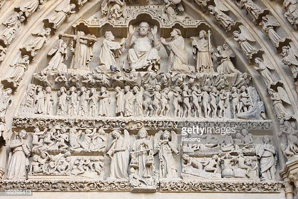Amiens cathedral Central gate Last judgment tympanum