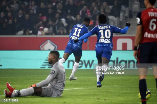 Amiens' Colombian forward Juan Otero celebrates after scoring a goal during the French L1 football match between Lille and Amiens on January 18 at...