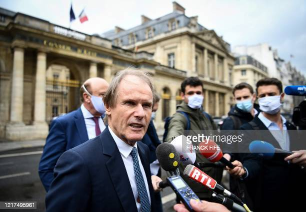 Amien's French president Bernard Joannin speaks to the press upon his arrival on June 4 2020 to attend the hearing at the Council of State France's...