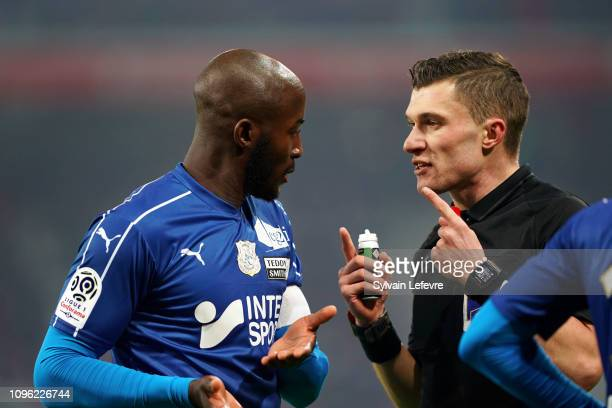 Amiens' Prince Gouano reacts in front of Willy Delajod during french 1st League soccer match between Lille OSC and Amiens SC at Stade Pierre Mauroy...