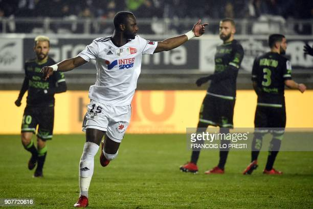 Amiens' Senegales forward Pape Moussa Konate after scoring a goal during the French L1 football match between Amiens and Guingamp on January 20 2018...