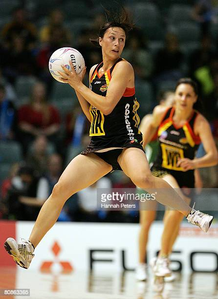 Amigene Metcalfe of the Magic attacks during round four of the ANZ Championship match between the Waikato Magic and the West Coast Fever at the...