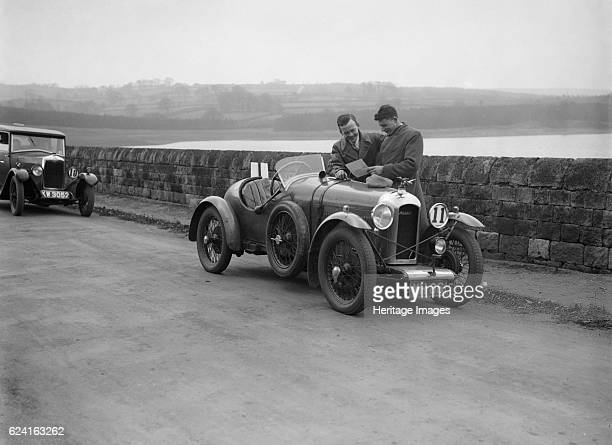 Amilcar and Riley 9 at the Ilkley District Motor Club Trial Fewston Reservoir Yorkshire 1930s Artist Bill BrunellCentre Amilcar Standard sports...