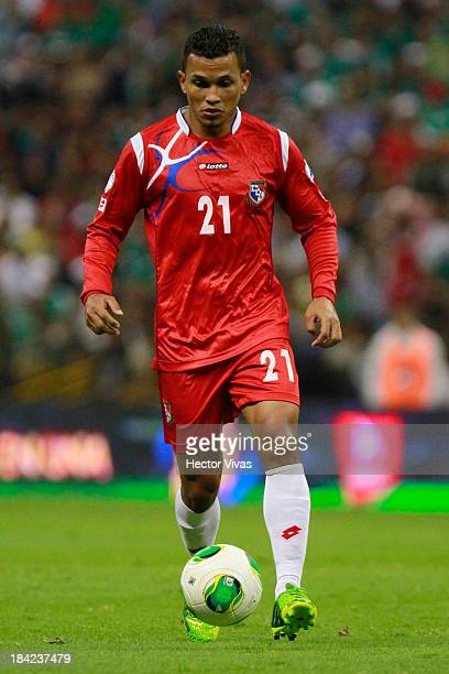 Amilcar Henriquez form Panama during the national anthems during a match between Mexico and Panama as part of the CONCACAF Qualifyers at Azteca...