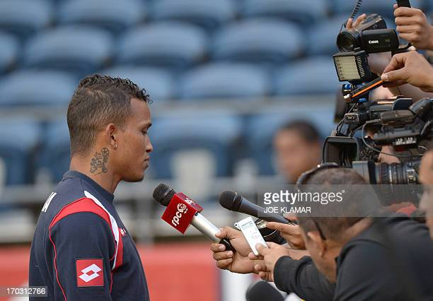 Amilcar Henriquez speaks to journalists during Panama's national soccer team practice on June 10 2013 in Seattle Washington on the eve of their...