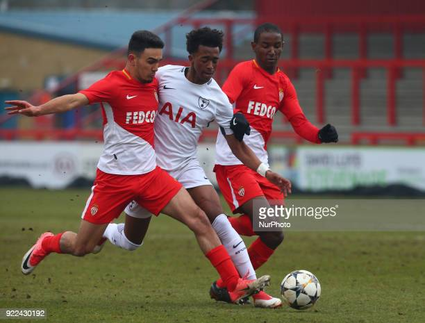 LR Amilcar Silva of AS Monaco U19s and Tashan OakleyBoothe of Tottenham Hotspur U19s during UEFA Youth League Round 16 match between Tottenham...