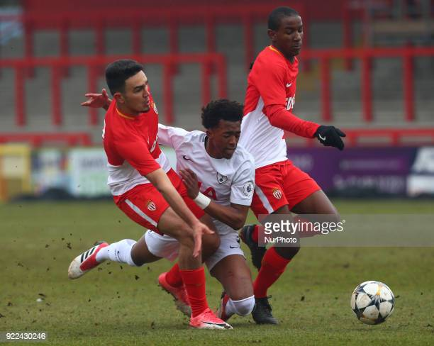 LR Amilcar Silva of AS Monaco U19s and Tashan OakleyBoothe of Tottenham Hotspur U19s and Amilcar Silva of AS Monaco U19s during UEFA Youth League...