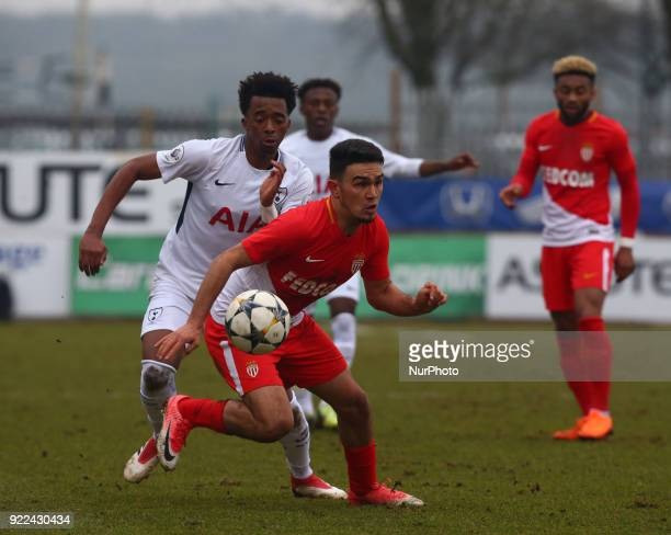 Amilcar Silva of AS Monaco U19s holds of Tashan OakleyBoothe of Tottenham Hotspur U19s during UEFA Youth League Round 16 match between Tottenham...