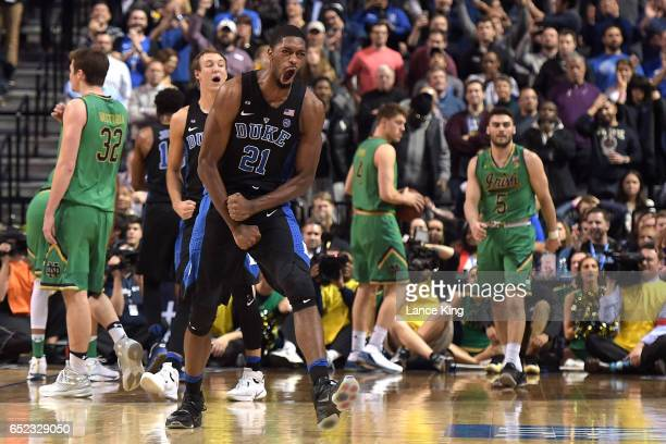 Amile Jefferson of the Duke Blue Devils celebrates near the end of their game against the Notre Dame Fighting Irish during the ACC Basketball...