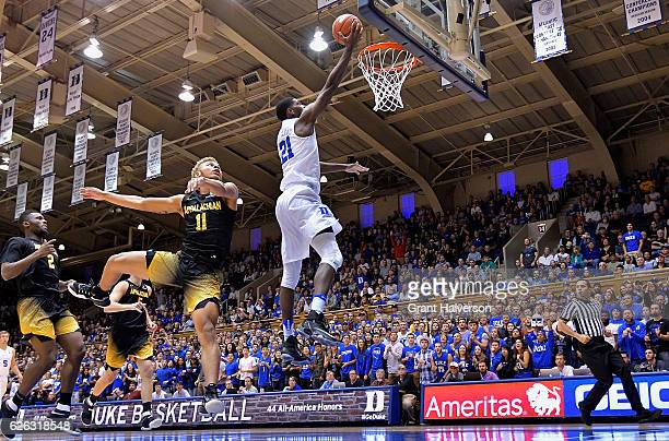 Amile Jefferson of the Duke Blue Devils drives against the Appalachian State Mountaineers during the game at Cameron Indoor Stadium on November 26...