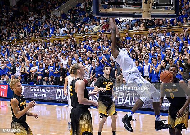 Amile Jefferson of the Duke Blue Devils dunks against the Appalachian State Mountaineers during the game at Cameron Indoor Stadium on November 26...