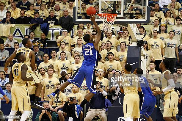Amile Jefferson of the Duke Blue Devils lays one in against the Pittsburgh Panthers at Petersen Events Center on January 27 2014 in Pittsburgh...