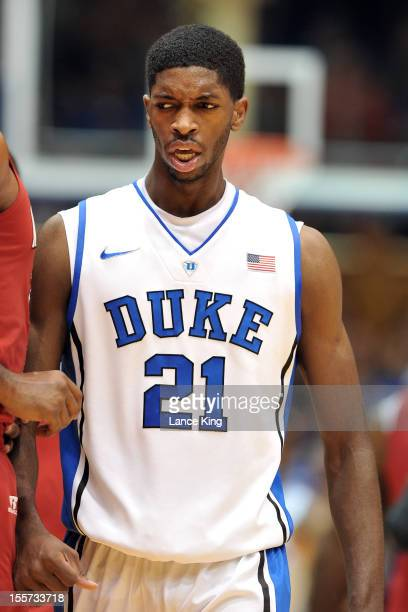 Amile Jefferson of the Duke Blue Devils looks on against the WinstonSalem State Rams at Cameron Indoor Stadium on November 1 2012 in Durham North...