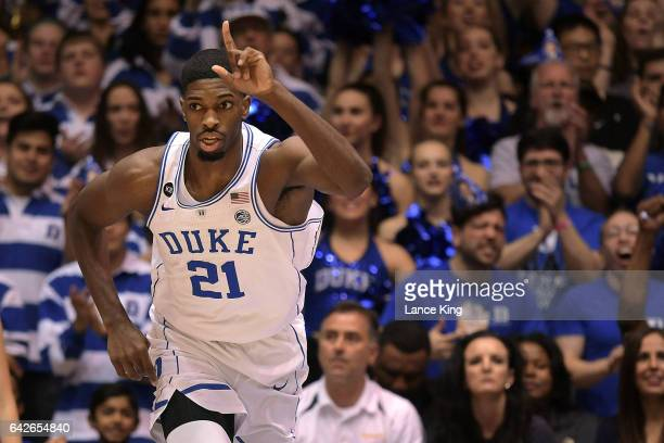 Amile Jefferson of the Duke Blue Devils reacts following a basket against the Wake Forest Demon Deacons at Cameron Indoor Stadium on February 18 2017...
