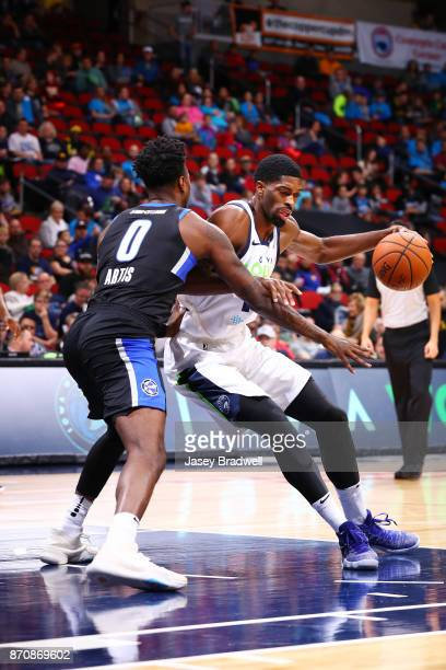 Amile Jefferson of the Iowa Wolves backs into the paint against Jamel Artis of the Lakeland Magic in an NBA GLeague game on November 4 2017 at the...