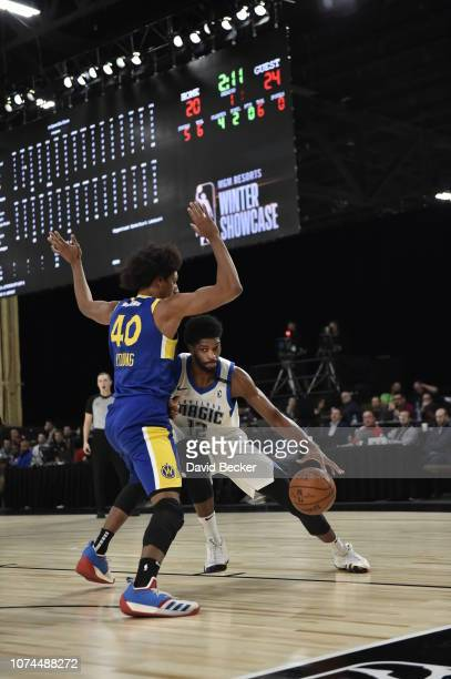 Amile Jefferson of the Lakeland Magic fights for position against the Santa Cruz Warriors during the NBA G League Winter Showcase on December 20,...