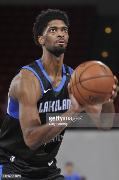 Amile Jefferson of the Lakeland Magic goes for a free throw shot against the Fort Wayne Mad Ants on February 13 2019 at RP Funding Center in Lakeland...