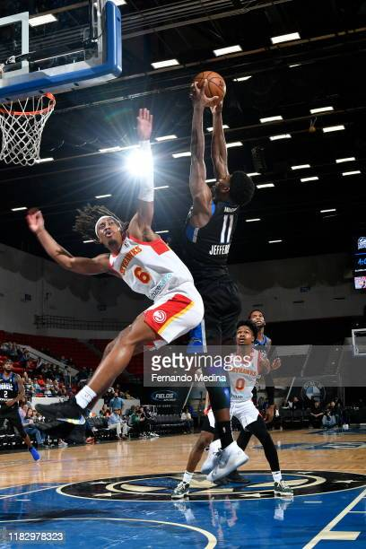 Amile Jefferson of the Lakeland Magic grabs a rebound against Tahjere McCall of the College Park Skyhawks during the game on November 16 2019 at RP...