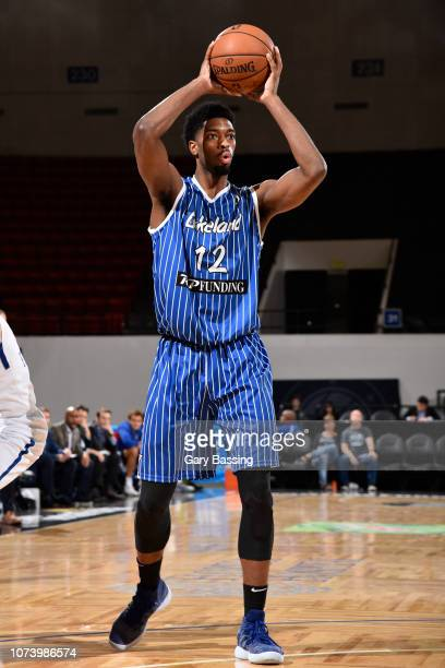 Amile Jefferson of the Lakeland Magic looks the pass the ball against the Delaware Blue Coats on November 25 2018 at RP Funding Center in Lakeland...