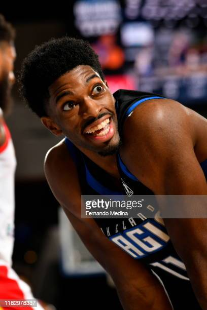 Amile Jefferson of the Lakeland Magic reacts against the College Park Skyhawks during the game on November 16 2019 at RP Funding Center in Lakeland...