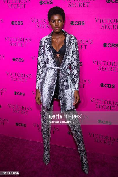 Amilna Estevao attends the 2017 Victoria's Secret Fashion Show viewing party pink carpet at Spring Studios on November 28 2017 in New York City