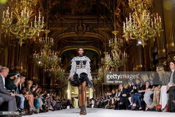 Amilna Estevao walks the runway during the Balmain show as part of the Paris Fashion Week Womenswear Spring/Summer 2018 on September 28 2017 in Paris...