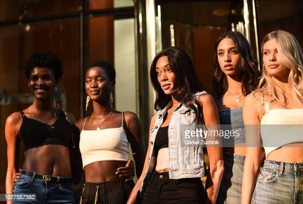 Amilna Estevao Winnie Harlow Yasmin Wijnaldum and Josie Canseco attend the casting for the 2018 Victoria's Secret Show in Midtown on September 5 2018...