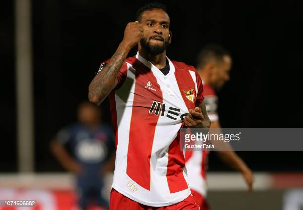 Amilton Silva of Desportivo das Aves celebrates after scoring a goal during the Liga NOS match between Belenenses SAD and CD Aves at Estadio Nacional...