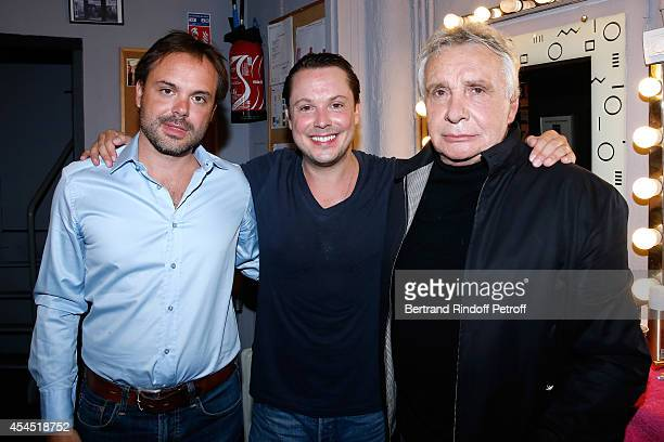 A amily in front of the stage Autor of 'Fraulein' and others book Romain Sardou his brother actor Davy Sardou and their father singer and futur...