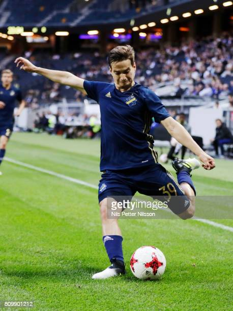 Amin Affane of AIK during the UEFA Europa League Qualifying match between AIK and KI Klaksvik at Friends arena on July 6 2017 in Solna Sweden