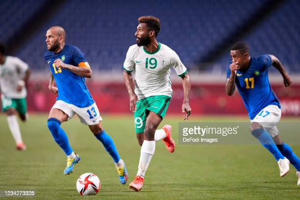 Amin Bukhari of Saudi Arabia controls the ball during the Men's Group D match between Saudi Arabia and Brazil on day five of the Tokyo 2020 Olympic...