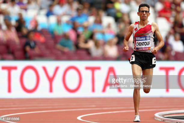 Amin Chentouf El of Morocco competes in the Men's 5000m T13 Final during Day Three of the IPC World ParaAthletics Championships 2017 London at London...