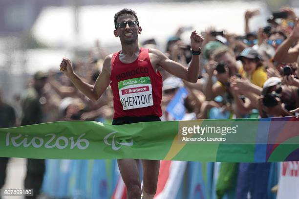 Amin El Chentouf of Morocco celebrates the victory in the Men's Marathon T12 at Fort Copacabana on day 11 of the Rio 2016 Paralympic Games at on...