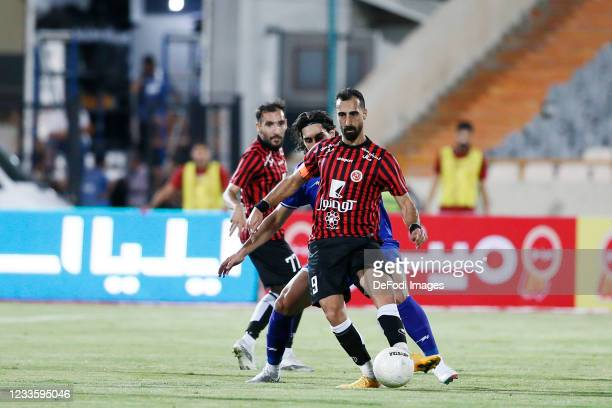Amin Ghaseminejad of Padideh controls the ball during the Persian Gulf Pro League match between Esteghlal and Padideh FC at Azadi Stadium on June 21,...