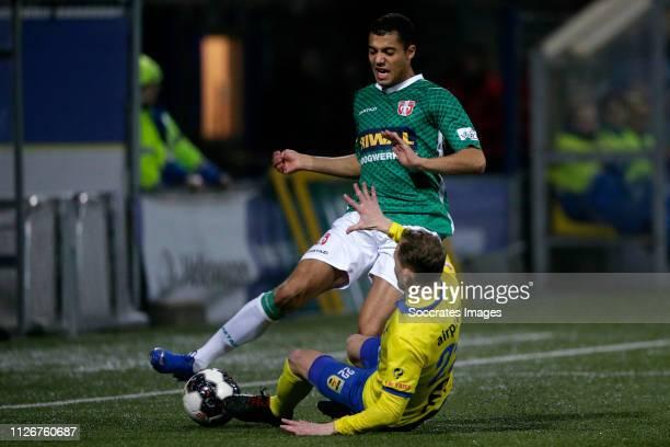 Amin Jeddaoui of FC Dordrecht Andrejs Ciganiks of SC Cambuur during the Dutch Keuken Kampioen Divisie match between SC Cambuur v FC Dordrecht at the...