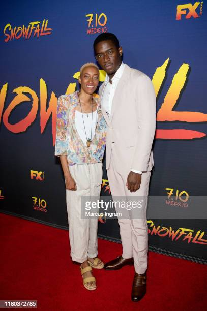 """Amin Joseph and Justice Maya Singleton attend the """"SnowFall"""" season 3 New Orleans screening at The Joy Theater on July 05, 2019 in New Orleans,..."""