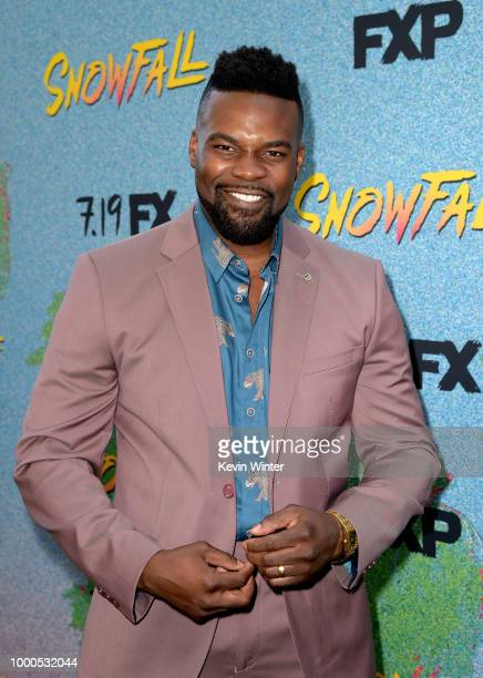 Amin Joseph arrives at the premiere of FX's 'Snowfall' Season 2 at the Regal Cinemas LA LIVE Stadium 14 on July 16 2018 in Los Angeles California