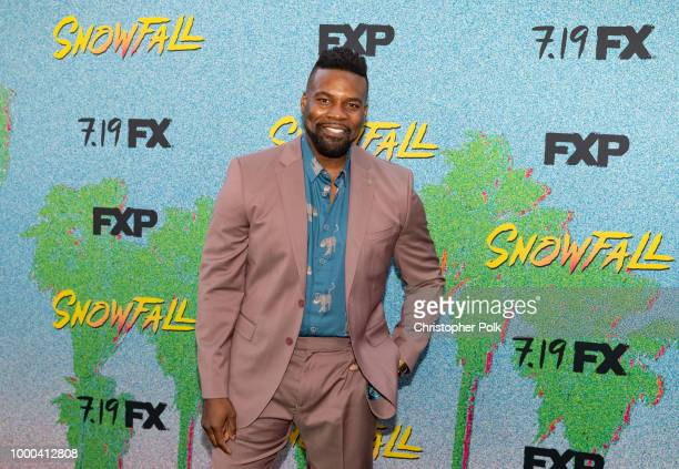 Amin Joseph arrives to the premiere Of FX's 'Snowfall' Season 2 at Regal Cinemas LA LIVE Stadium 14 on July 16 2018 in Los Angeles California